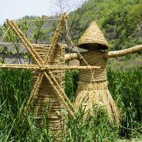 可定制稻草人 稻草文化动物卡通人草编植物编织工艺品