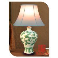 景德镇千火陶瓷 手绘青花陶瓷台灯 艺术装饰台灯 床头客厅书房灯