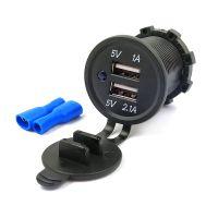 摩托车踏板车汽车改装配件取电 双USB改装车载充电器含线USB车充