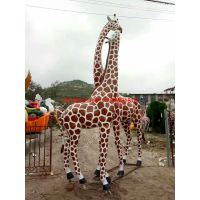 玻璃钢炫彩长颈鹿模型 不锈钢几何切面驯鹿 金属铁艺麋鹿雕塑现货 铸铜梅花鹿群可定做