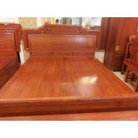 缅甸花梨木家具床1.8米大果紫檀卧室家具
