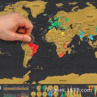 外贸热销迷你黑色刮刮地图 奢华版黑色小号刮刮旅行旅游地图