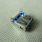 usb3.0母座 板端9P+胶芯加高+鱼叉脚DIP=14.4mmUSB板上 SMT AF