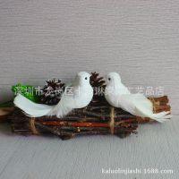 卡萝琳 小白鸟羽毛鸟摆件桌面装饰仿真白色小鸟文艺复古拍照道具