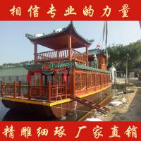 广东汕头楚歌生态园水上观光餐厅船 双层画舫船 景区大型游船特色定制颜色款式