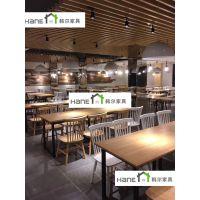 上海电气集团HR8员工餐厅桌椅 员工餐厅实木桌椅定制