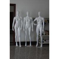 模特道具女全身 高档假人玻璃钢女模特 服装店橱窗陈列道具 亮白线条头模特