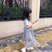女童爆款夏装背心裙 新品蓬蓬公主纱裙蝴蝶结秀珠童裙蕾