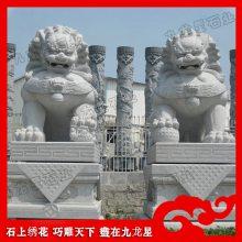 泉州白石狮子 镇宅招财石雕北京狮 芝麻白石材