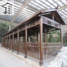 设计新农村建设木制走廊,景观园林休闲防腐木长廊
