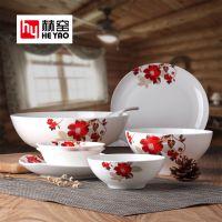唐山赫窑 20头家用韩式碗盘碟骨瓷餐具套装陶瓷厂家礼品批发定制可印logo