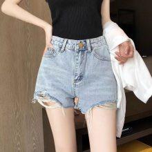 外贸尾货夏季新款特价女装休闲百搭韩版弹力高腰牛仔短裤