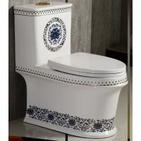高温蓝花陶瓷卫生间彩色连体马桶座便器