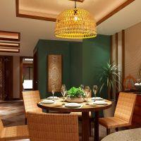 竹灯吊灯现代客厅餐厅灯具个性创意东南亚乡村竹编灯饰