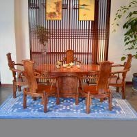 供应东阳和谐红木 红木家具 刺猬紫檀 简约现代 6件套腰形茶台