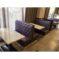 咖啡馆西餐厅酒店欧式实木扶手单双人卡座沙发餐桌椅组合