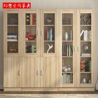 自由组合书柜简易书架置物架带玻璃门简约现代储物柜特价小柜子