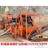 河沙双轮斗洗砂机现场,XS-2612轮斗洗砂机,石沫轮式洗砂机生产线