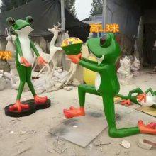 玻璃钢卡通求爱蛙雕像牛蛙主题餐厅树脂彩绘迎宾蛙形象招牌摆件单膝下跪求婚告白青蛙雕塑现货