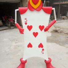 玻璃钢卡通人物摆件红心扑克牌士兵雕像 树脂爱丽丝拟人纸牌小兵公仔雕塑梦游仙境电影角色模型雕塑摆设现货