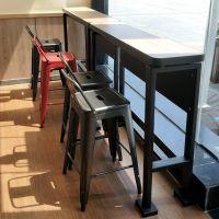 宿迁市星巴克铁艺吧台椅可定制美式乡村咖啡厅酒吧靠背高脚吧台凳