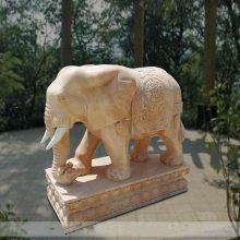 石雕大象晚霞红门口招财如意带座披挂像摆件一对镇宅石头象曲阳万洋雕刻厂家定做