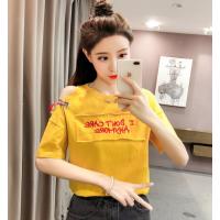便宜韩版T恤女装上衣便宜服装清货时尚女士短袖纯棉T恤尾货批发2元清