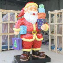 玻璃钢彩绘圣诞老人模型雕像商场圣诞节道具树脂卡通送礼物造型圣诞老人塑像摆件