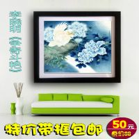 带框中国画 李晓明工笔花鸟牡丹山水 现代客厅卧室餐厅装饰画d104