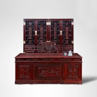 941红木网_古典中式书房家具组合_办公桌椅 书柜_阔叶黄檀四件套