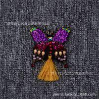 纯手工爪钻珠绣布贴 亮片服装汽车装饰挂件流苏配饰来图定做
