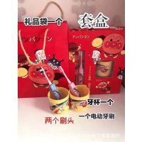 日本进口面包超人儿童电动牙刷套装卡通电动牙刷宝宝牙杯套装批发