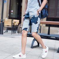 忆惜格罗2017夏季新款男士欧美青年直筒型蓝色迷彩沙滩中裤基本款男士五分裤