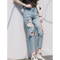 便宜女装牛仔裤韩版时尚弹力小脚裤便宜破洞牛仔裤清货5元以下