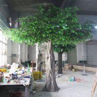 厂家批发仿真榕树 人造假榕树 金色叶子包柱榕树 咖啡厅酒店装饰