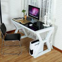 简约家用台式电脑桌钢化玻璃办公桌简易书桌学生书房写字台定制