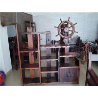 老船木博古架隔断 实木中式摆件多宝架船木家具古玩架展示 多宝阁
