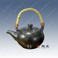 景德镇千火陶瓷 铁色釉提梁小壶泡功夫茶壶