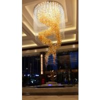 客厅复式楼梯现代旋转楼梯吊线玻璃餐厅灯