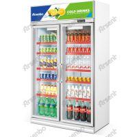 雅绅宝冷柜供货商 铝合金双玻璃门展示柜 中空双层玻璃饮料展示柜