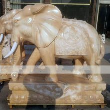 石雕大象晚霞红门口招财吉祥如意招财石象摆件一对曲阳雕刻厂家定做