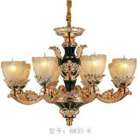 黔静灯具中式法式珐琅彩绘吊灯绿色孔雀吊灯法式高端灯饰定制