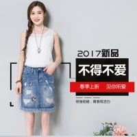 高腰牛仔裙 半身裙女夏季短裙排扣 防走光裙修身百搭包臀裙裤