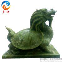 石雕大理石绿石赑屃龙龟霸下汉白玉玄武龙头龟户外园林神兽摆件