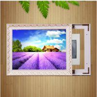 电表箱装饰画批发 定制推拉式实木装饰画有框 实木电表箱遮挡画框