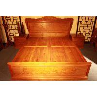 湖南义祥红木家具供应缅甸花梨双人床 大果紫檀实木床 卧室家具 厂家直销