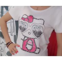 纯棉时尚款女装T恤批发地摊 短袖T恤 印花T恤 圆领T恤低价批发