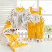 婴儿冬季外出服 婴幼童背带加厚套装1岁宝宝卡通韩版 童装三件套