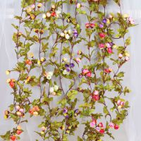 翰茜仿真玫瑰花藤条假花藤蔓绢花欧式复古小玫瑰壁挂花婚礼