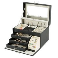 定做高档皮质首饰盒绒布欧式超大容量家居珠宝盒戒指耳环收纳盒